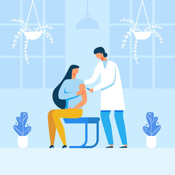 Flat Male Doctor Making Injection to Female Patient. Clinic or Hospital Cartoon Interior. Innovative Medicine Testing or Disease Treatment. Vaccination. Vector Medicine Healthcare Illustration