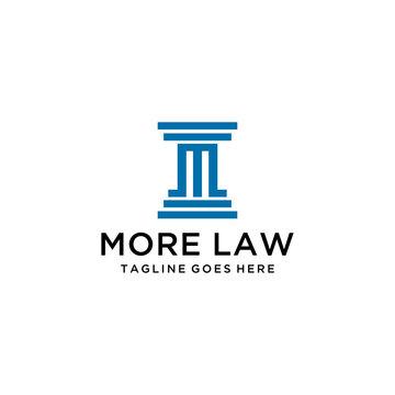 Creative Illustration modern M law firm sign geometric logo design template
