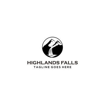 Creative Illustration Simple waterfall Logo Design Vector