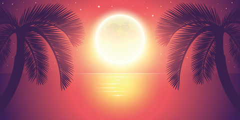 romantic night full moon by the sea with palm tree landscape vector illustration EPS10 Fototapete