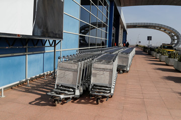 Luggage trolleys are seen at Blaise Diagne International Airport amid the outbreak of the coronavirus disease (COVID-19), in Thies