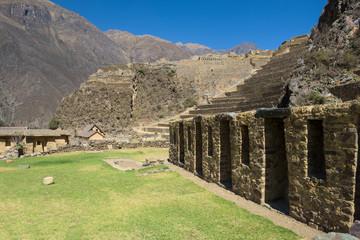 The Inca ruins of Ollantaytambo in the Sacred Valley near Cusco, Peru