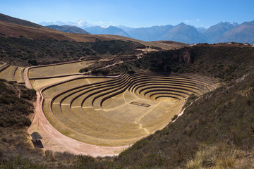 Circular green Inca terraces of Moray in the Sacred Valley near Cusco, Peru