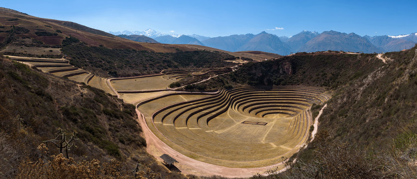 Circular green Inca terraces of Moray in the Sacred Valley near Cusco, Peru