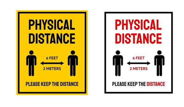 Physical Distance not Social Distance Interaction Sign Vector Illustration To Prevent Corona Virus Spread