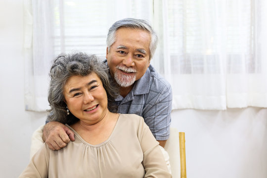 Happiness senior couple lover smile portrait  and lifestyle at home.