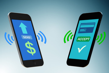 Concept of mobile wallet transfers - 3d rendering