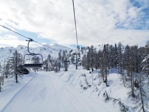 idyllic view from chairlift ski resort
