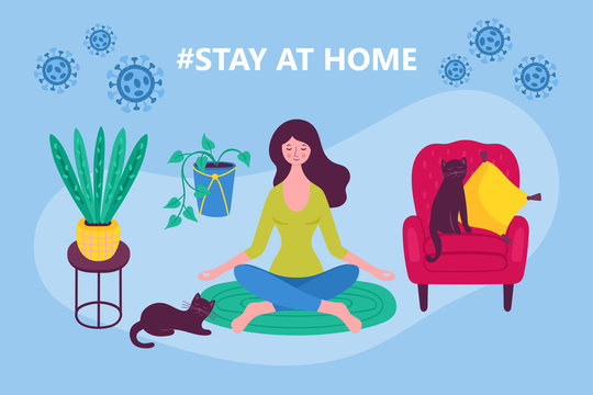 Coronavirus COVID-19 outbreak concept. Stay at home concept with woman meditating. Flat cartoon vector illustration