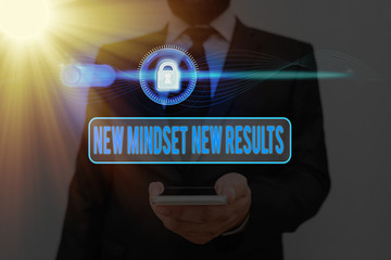 Word writing text New Mindset New Results. Business photo showcasing obstacles are opportunities to reach achievement