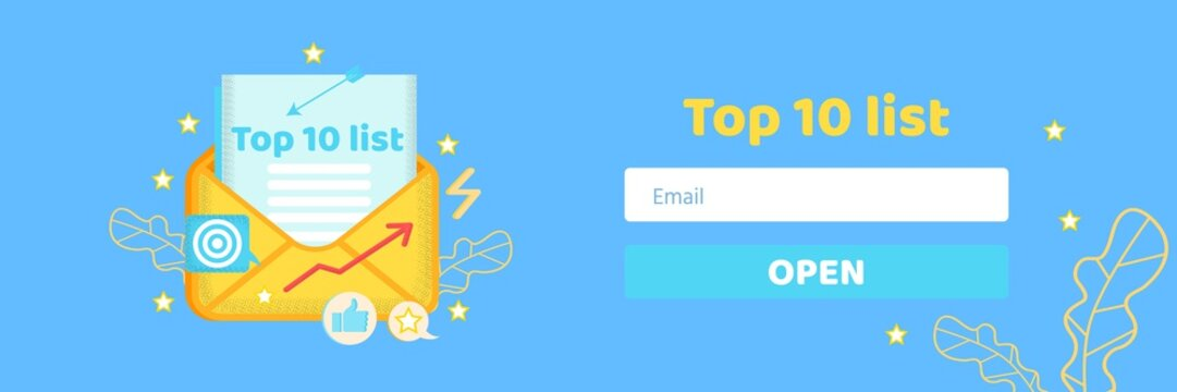 Top Ten List Building for Directed Email Marketing Header Banner. Advertising Digital Campaign. Cartoon Envelop with Social Media, Video Icons. Field for Entering E-Address. Vector Flat Illustration