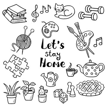 A set of hand-drawn doodle home activities, hobbies, coloring page. Slogan: Stay home