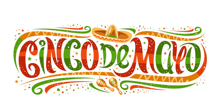 Vector greeting card for Cinco de Mayo, horizontal invitation with curly calligraphic font, art design curls and decorative flourishes, swirly brush letters for words cinco de mayo on white background