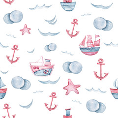 Watercolor hand painted sea life illustration. Seamless pattern on white background.Boat, fish, wave collection. Perfect for textile design, fabric, wrapping paper, scrapbooking