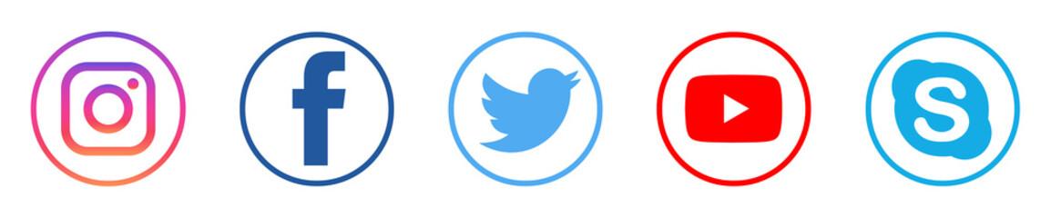Instagram, facebook, youtube, twitter, pinterest, behance, google, skype, viber, Whatsap, telegram, linkedin, icon, social, media, applications, internet, app, concept, photo