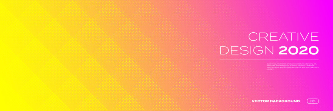 Color gradient background, halftone pattern, vector abstract trendy geometric graphic design. Simple minimal square and dots halftone yellow and pink red color gradient pattern background