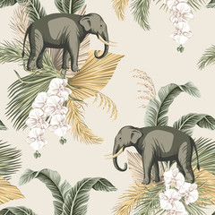 Vintage tropical palm leaves, flower white orchid, elephant animal floral seamless pattern beige background. Exotic safari wallpaper.