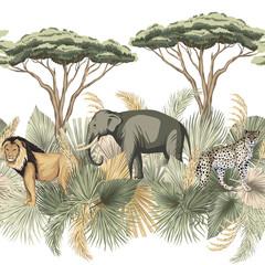 Vintage safari liści palmowych, drzewo, lew, słoń indyjski, lampart zwierząt kwiatowy bezszwowe granica białe tło. Egzotyczna tapeta sawanny. - 333775942