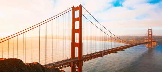 Acrylic Prints Bridges San Francisco's Golden Gate Bridge at sunrise from Marin County
