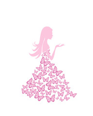 Foto op Canvas Bloemen vrouw Vector illustration of beautiful summer woman with butterfly dress. Butterfly woman pink color vector illustration