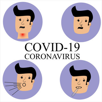 Vector of Coronavirus or COVID-19. The virus symptoms may include fever, cough, pneumonia and acute respiratory distress syndrome.