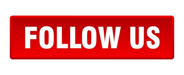 follow us button. follow us square red push button