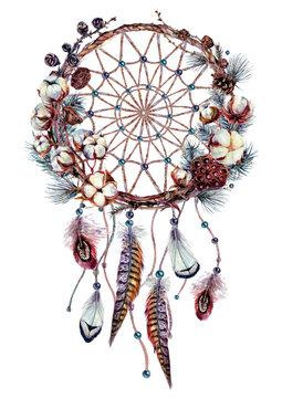 Watercolor Boho Dream Catcher Illustration