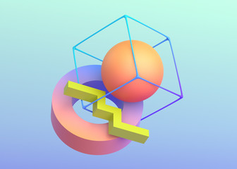 Abstract 3d render, background design with geometric shapes