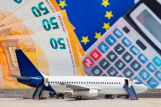 Air transportation. Concept - airlines ask for financial assistance. Airplane on the background of euro bills. Concept - airlines of the European Union. Financial losses of air corporations. Price