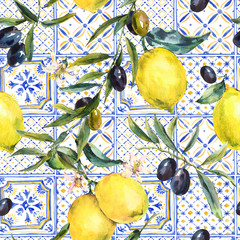 Watercolor lemon, olive branches ornament seamless pattern