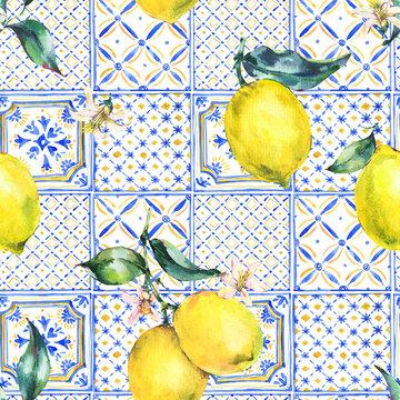 Watercolor lemon seamless pattern, Vintage summer wallpaper.