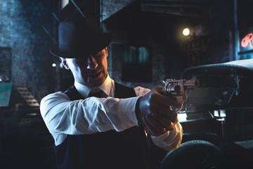 vintage Italian mafia gangster in 1930's in New York - fototapety na wymiar