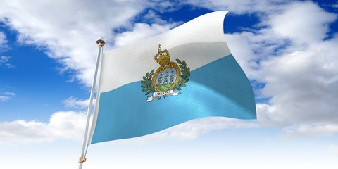 San Marino - waving flag - 3D illustration Wall mural