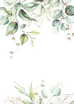 Watercolor floral frame / border with green leaves & branches and gold elements, for wedding stationary, greetings, wallpapers, fashion, background. Eucalyptus, olive, green leaves.