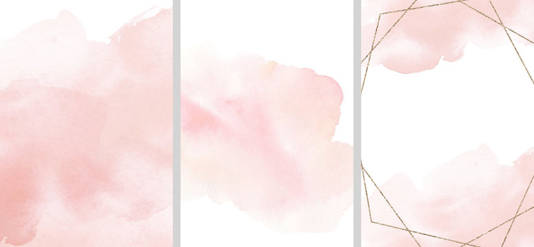 Watercolor abstract illustration set - collection of pink textures, border, gold geometric wreath, for wedding, greetings, wallpaper, fashion, posters, background. Eucalyptus, olive, leaves, rose.