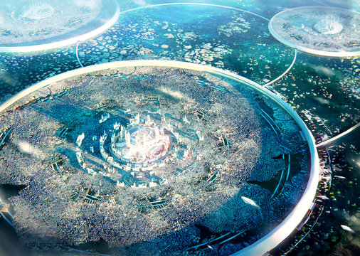 Artistic 3d rendering illustration of a drone shot of a powerful kingdom