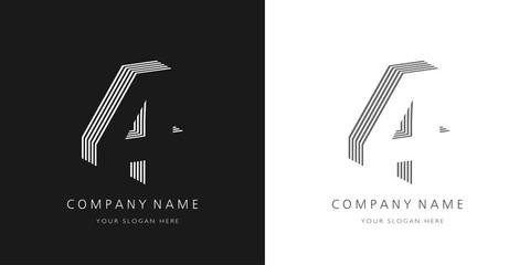 Fototapeta 4 logo number modern design obraz