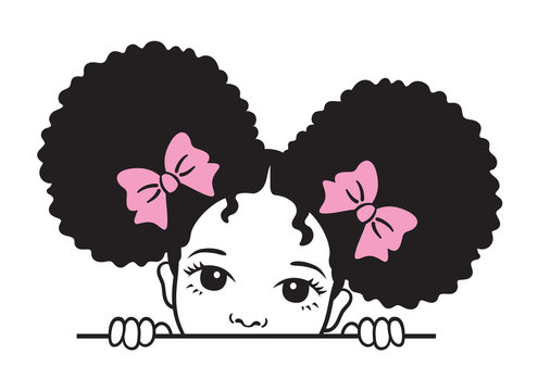 Cute peekaboo black girl with afro puff hair vector illustration.
