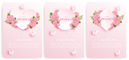 Happy mother's day card set with colorful flowers and butterflies. Paper cut vector illustration.