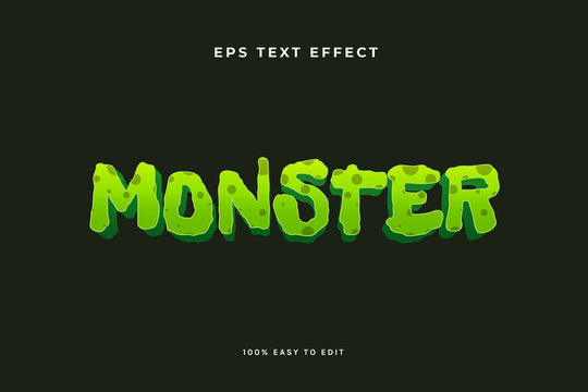 Green monster zombie text effect
