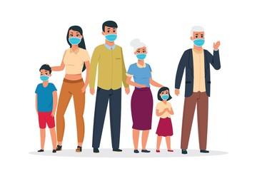 Family virus. Cartoon old and young characters wearing medical respirator masks for coronavirus and infection. Vector flue protection concept, wearing protective mask girl, child, women, men Fotobehang