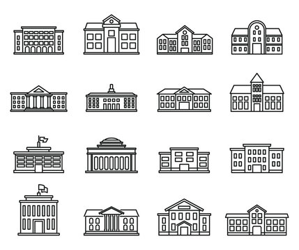 University campus icons set. Outline set of university campus vector icons for web design isolated on white background