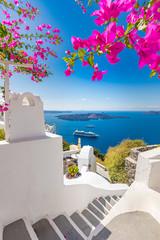 Fototapeta White architecture on Santorini island, Greece. Beautiful summer landscape, sea view. Beautiful terrace with flowers, sea view. Santorini island, Greece. obraz