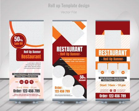Food & Restuaruant concept. Graphic template roll-up for exhibitions, banner for Hotel, layout for placement of photos. Universal stand for Restuaruant - Vector.