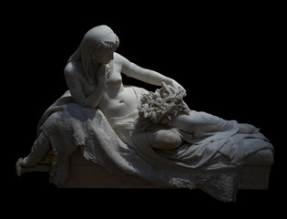 Death of Cleopatra, marble sculpture on a black background