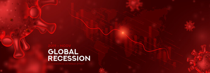 Global recession banner concept. Background concept with falling stock charts and financial diagram. Vector illustration with 3d realistic microscopic Virus Covid 19-NCP.