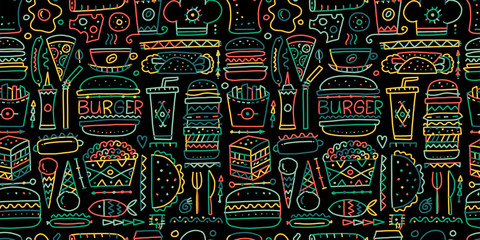 Fast food collection. Hamburger pizza sausages snacks sandwich ice cream. Food menu, seamless pattern for your design