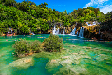 Wall Mural - Famous Krka National Park with admirable waterfalls, Sibenik, Dalmatia, Croatia