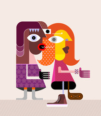 Foto auf Leinwand Abstractie Art Gossiping couple vector illustration