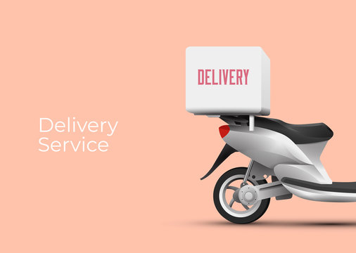 Delivery service poster banner design concept with back side of scooter with delivery trunk on it. Vector illustration